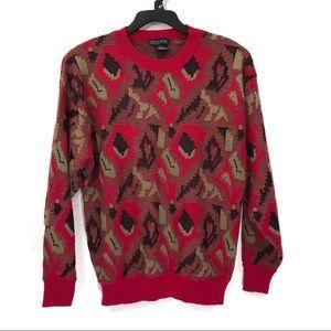 VTG Generra Collection Geometric Crewneck Sweater